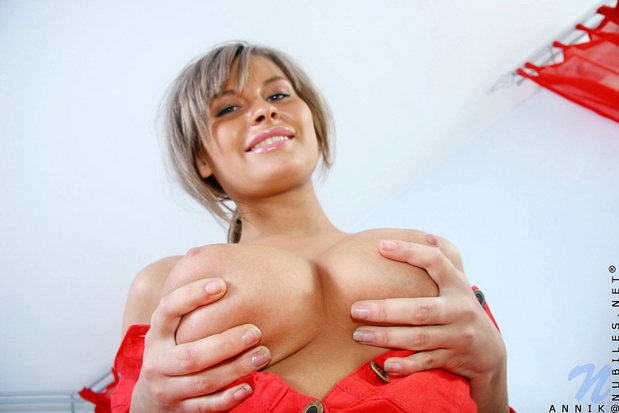 Russian doll Annik holds up her perfect pair; Big Tits