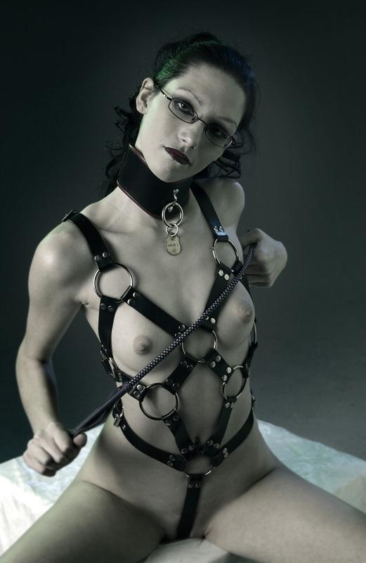 ...; BDSM Brunette Collar Crop Glasses Lingerie MILF Mistress Slave Toys