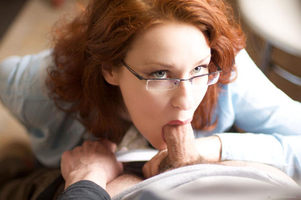 ...; Babe Blowjob Glasses Red Head