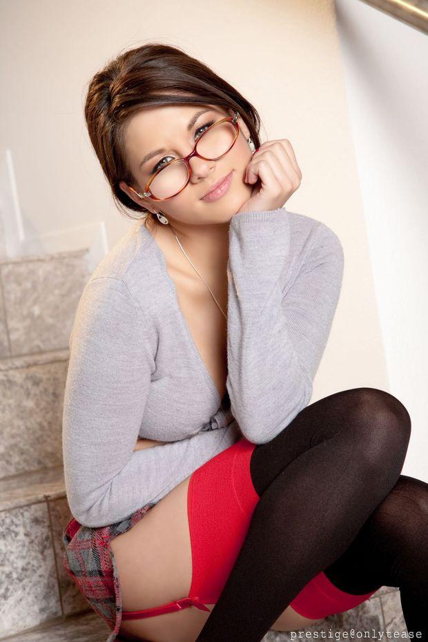 ...; Babe Brunette Glasses Hot Pornstar Stockings